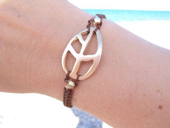Golden leaf chocolate brown macramé bracelet with Swarovski crystals