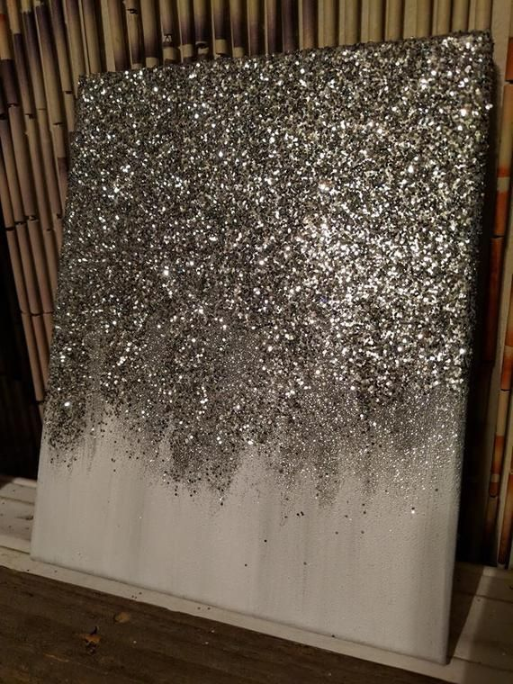 Abstract Glitter Painting Custom Modern Chic Home Decor Etsy Chic Home Decor Glitter Wall Art Modern Chic