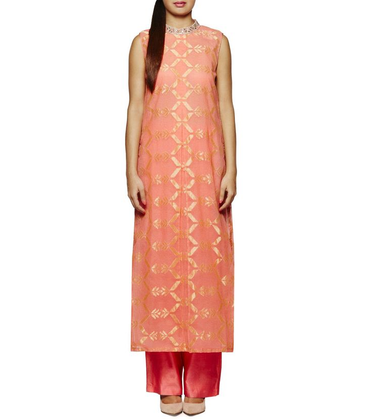 #Peach Gota Patti Net #Brocade #Palazzo Set by #Anita #Dongre at #Indianroots