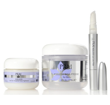 Prai Ageless Trio includes Ageless No-Tox Targeted Face Tightener, Ageless Lip Line Filler and Ageless  Sculptesse for Body. #ilovetoshop