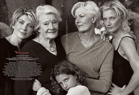 Natasha Richardson (left) with her grandmother, Rachel Kempson; niece, Daisy Bevan; mother, Vanessa Redgrave; and sister, Joely Richardson, photographed by Annie Leibovitz at Natasha Richardson and Liam Neeson's home in New York, April 1998. The image ran in the April 2000 issue of Vanity Fair.