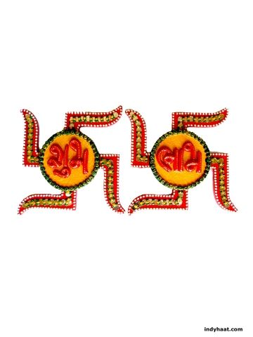A very exclusive and best quality wooden wall decoration piece itself decorated with beautiful design on top completely made of paper mache in the sign of subh labh on swathik shaped design. Decorate your walls and pooja ghar with this beautiful handmade artifact.   - See more at: http://indyhaat.com/Wall-Decor/Wall-Decor---Shubh-Labh-id-295489.html