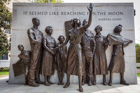 VIRGINIA CIVIL RIGHTS MEMORIAL The Virginia State Capitol Building is home to a beautiful bronze and marble sculpture of Barbara Johns, the courageous 16-year-old at the front lines of the Moton High walkout.