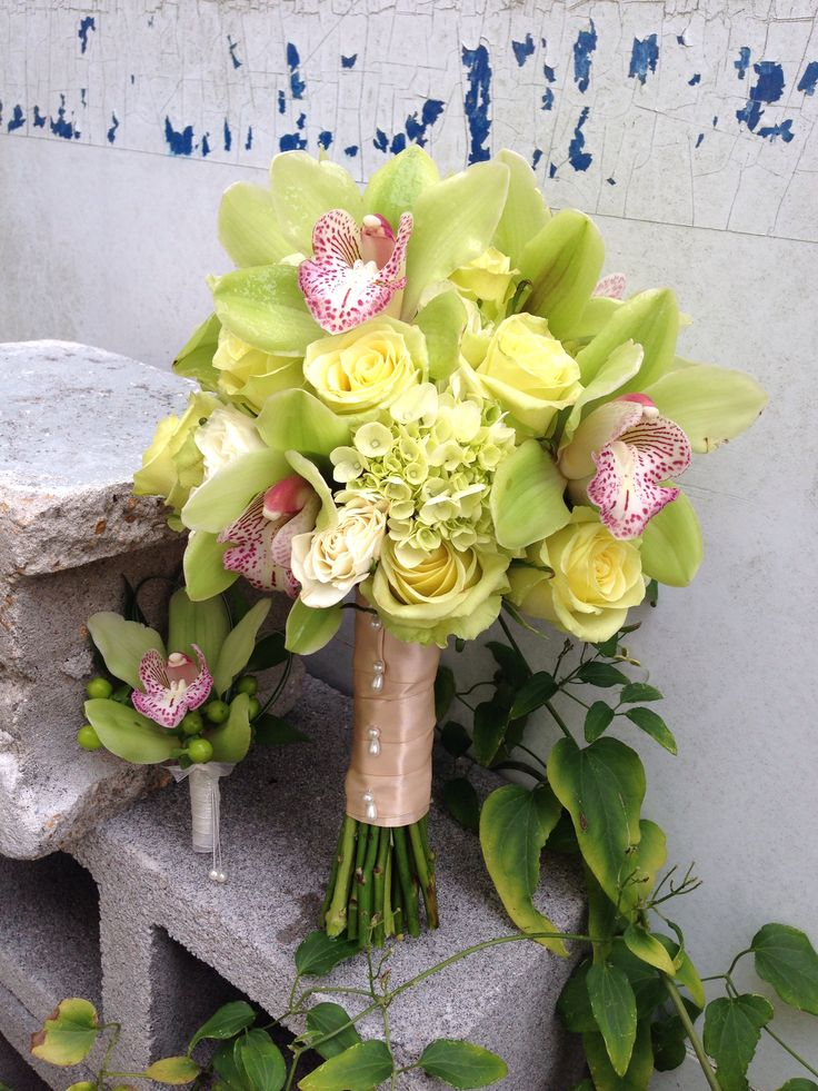Green Bouquet of Cymbidium Orchids, hydrangeas, spray roses, and roses