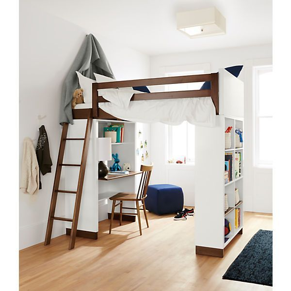 Room Board Moda Loft Bed With Middle Desk One Bookcase And One Four Drawer Dresser Modern Kids Bedroom Kids Loft Beds Loft Spaces