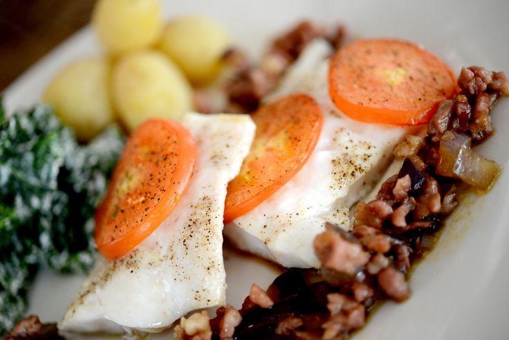 Telemarksavisa - Bakt torsk med kremet grønnkål og bacon