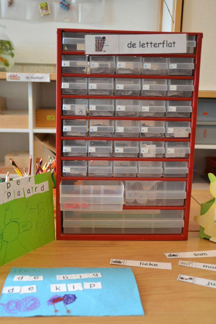 EERSTE LEERJAAR: letters opbergen in een letterflat van een gereedschapkastje.