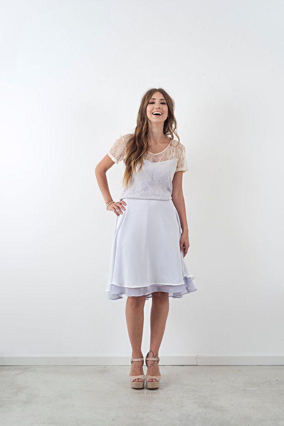 KT / Short Colored Chiffon Wedding Dress Lace by AnyaDionne