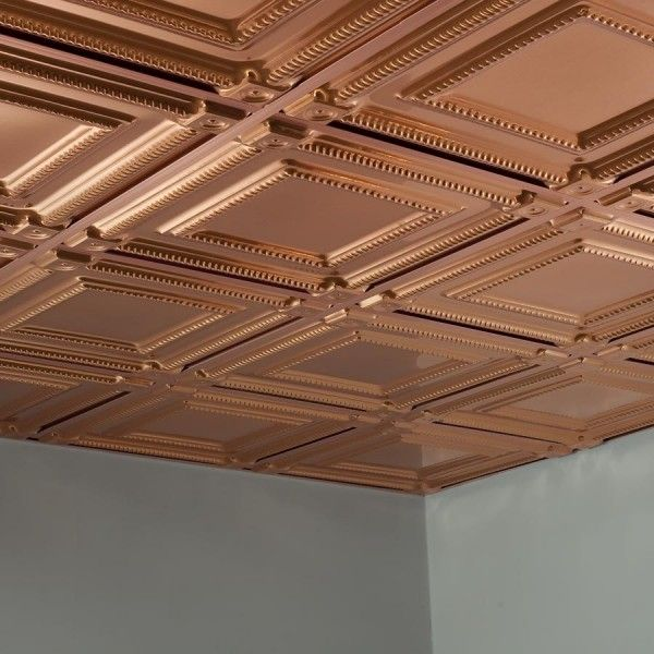 Fasade Ceiling Tile 2x2 Suspended Coffer In Polished Copper Drop Ceiling Tiles Ceiling Tile Ceiling