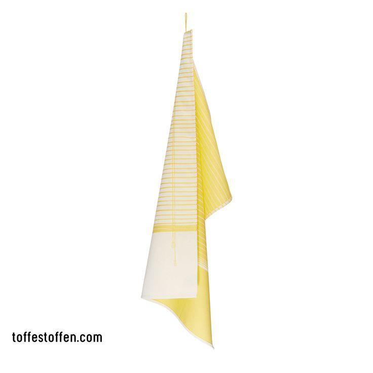 Elegant - yellow. Tea towel 100% bio cotton. Woven in Dutch TextileMuseum Tilburg. Loop is extension of the print.  www.toffestoffen.com
