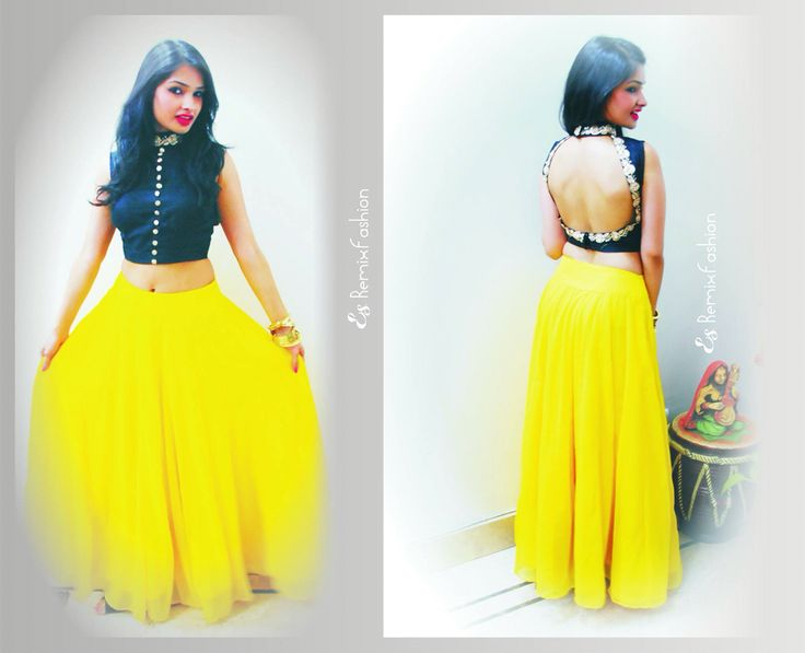 Crop top #skirt#backless# embroidered