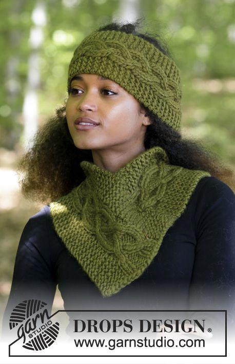 L'ensemble se compose de: bandeau et tour de cou avec point mousse et torsades.  Se tricote en DROPS Eskimo. Modèle gratuit de DROPS Design.