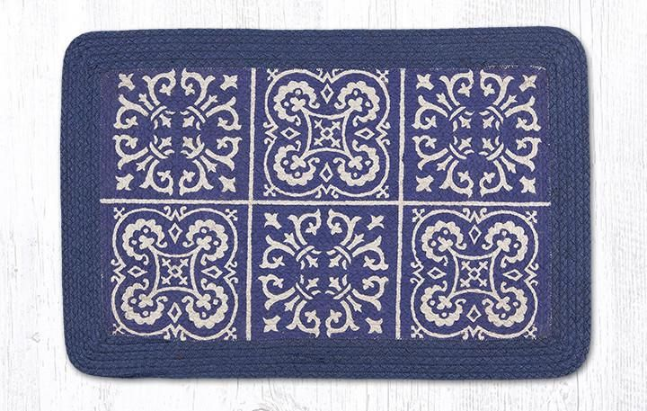 Braided rectangle rug with blue tile designs. Durable jute material. #southwest #rugs #tiledesign