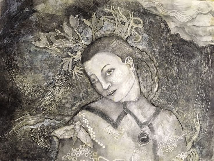 Tracie Noles-Ross - THE MOTH   monotype and encaustic on board   16 x 20 inches