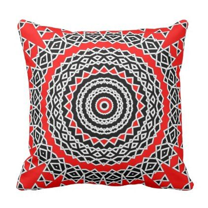 Prism Mandala ( Red ) Throw Pillow - black gifts unique cool diy customize personalize