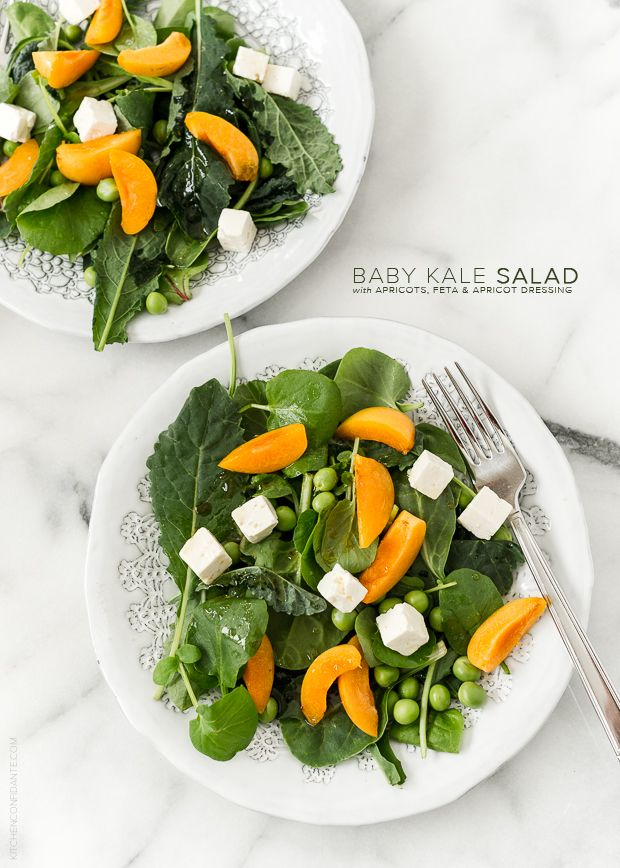Baby Kale Salad with Apricots, Feta, and Apricot Dressing