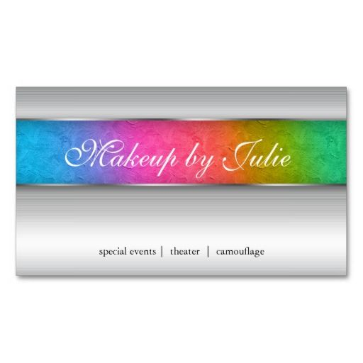 Cosmetologist Business Card Modern Rainbow Silver 4 $31.95 -- click for sales!!!!!!!