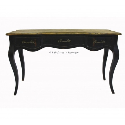 French Country Rustic Console Table - Black