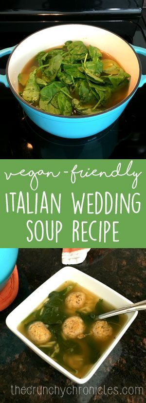 Healthy vegan Italian wedding soup recipe, perfect soup recipe for fall and winter. Vegan and vegetarian friendly.