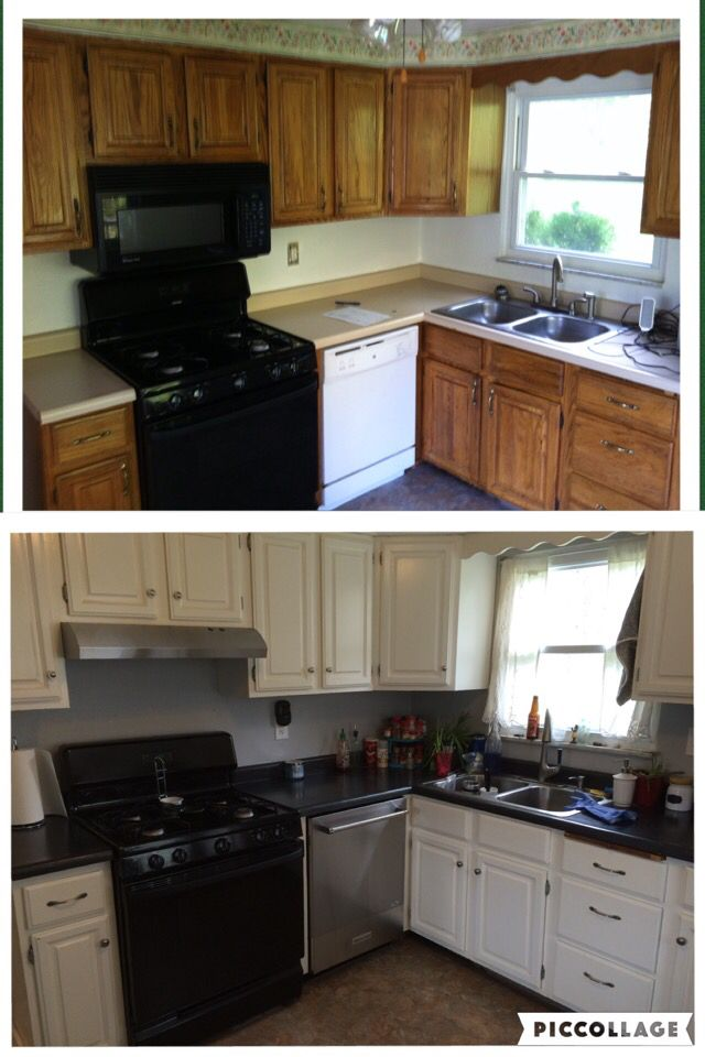 Before & After 2016 Painted cabinets & walls, replaced the too low microwave with a recirculating range hood (Whirlpool), replaced the dishwasher (Kitchen Aid), skim coated concrete countertops (Ardex) and stained them charcoal grey.