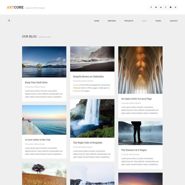 Artcore responsive HTML5 template includes total 12 pages. Homepage features a touch slider. Project section has one column, 2-column, and 3-column. Blog is a masonry grid layout for posts and single post includes multi-level comments.
