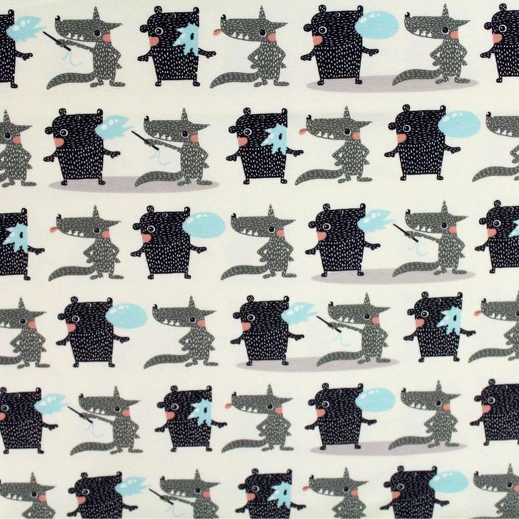 44cm x 105cm Bio Jersey Stoffonkel Bubble Gum mini Wolf Bär Tiere Kinderstoffe