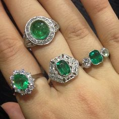 Why not follow us on instagram as well? www.instagram.com/ac.silver  What a gorgeous set of emerald rings modeled by Marushka #emerald #diamond #ring #engagement #jewellery