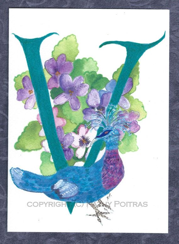 V is for Victorian Pigeon  personalized by KathyPoitrasArt on Etsy