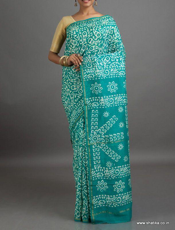 Madhavi Cool Blue with White #BatikPrintSaree