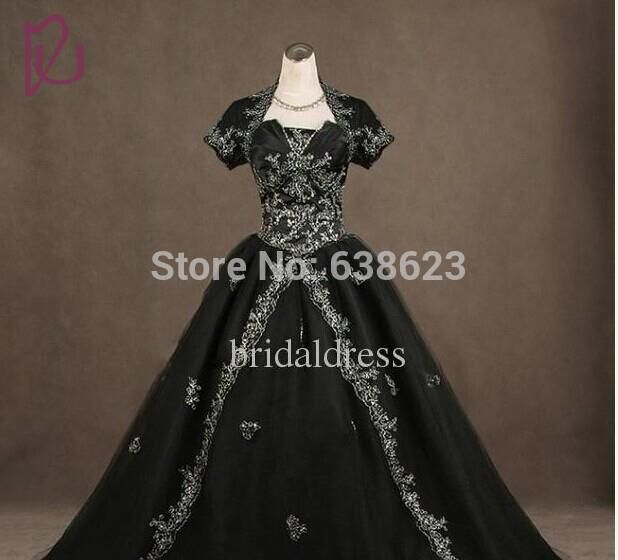 DAW1523  Wholesale  Sleeves Black Gothic Wedding Dresses with Jacket Ball gown White Embroidery church Wedding Bridal gowns