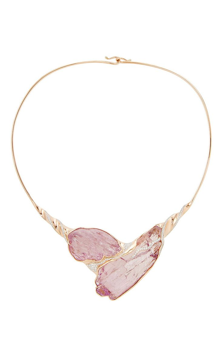 One of a Kind 18K Rose Gold, Raw Double Kunzite and Diamond Choker by Jorge Adeler