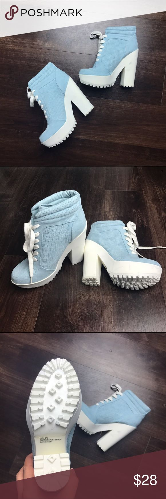 Platform Athletic Sneaker Boots baby blue/white platform sneaker boots Shoes Heeled Boots