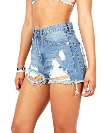 size: small  Haola Women's Summer Short Juniors Denim High Waist Distressed Cutoff Shorts at Amazon Women's Clothing store: