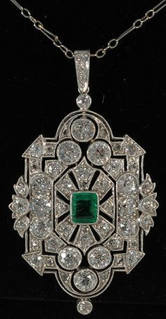 *** Fantastic discounts on fine jewelry *** John Joseph Pendants Platinum set emerald and diamond deco fine pendant