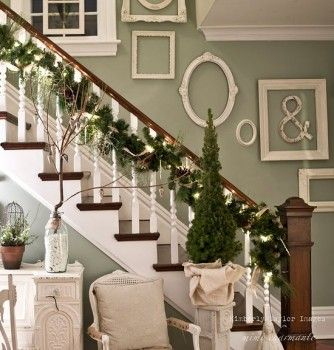 Frame with distressed ampersand. Definitely going to do.: Stairs, Empty Frames, Wall Color, Decoration Idea, Garlands, Frames Wall, White Frames, Pictures Frames, Stairways
