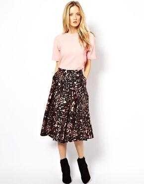 Image 1 ofWhistles Ivy Smudge Print Midi Skirt