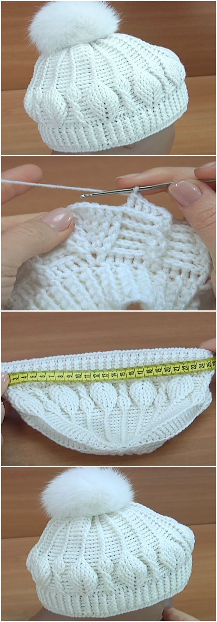 Crochet 3D Beanie Hat Leaf Stitch