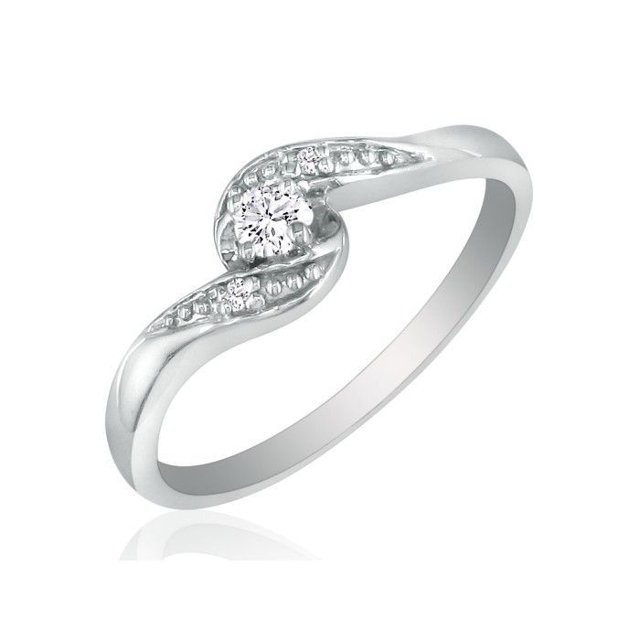 Promise Rings: Bypass Diamond Promise Ring in 10k White Gold
