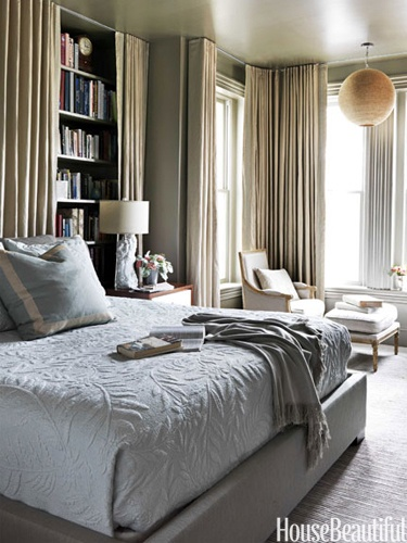 Elegant grey bedroom in Victorian rowhouse in Washington, D.C. designed by Barry Dixon