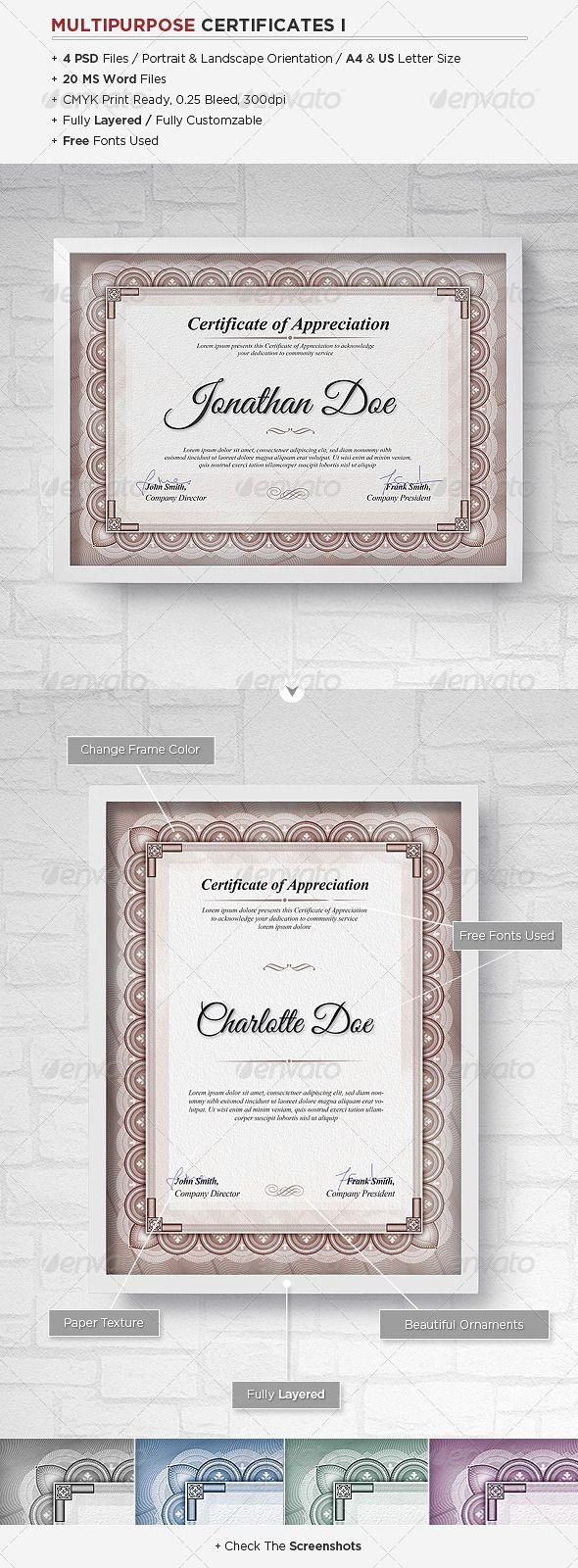Multipurpose Certificates - Certificates Stationery