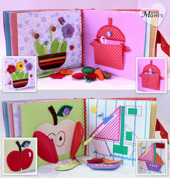 Children's Quiet Book Busy Book Eco friendly by MiniMoms on Etsy  -- Like the one of the apple opening and showing seeds
