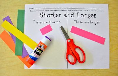 Kiddos compare same colored strips and glue on appropriate side...fun for students and easy prep for teacher!: Comparing Length, Math Center, Hands On Measurement, Kindergarten Math, Math Lesson, Math Ideas, Compare Length, Measurement Freebie, Kindergarten Blog