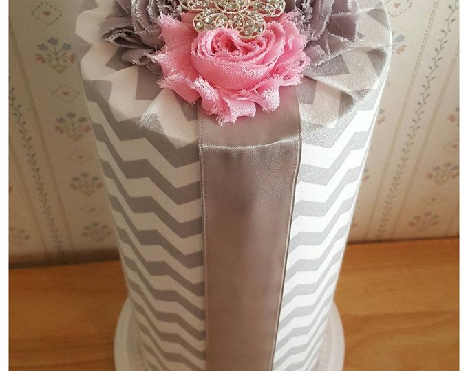 Baby headband holder, headband holder, headband storage, gray and white chevron headband organizer, shower gift, baby girl, room accessory