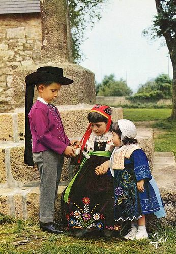 Traditional Costumes of Brittany people, France