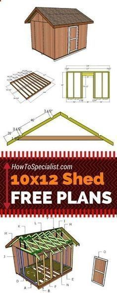 Learn how to build a 10x12 shed with my free and step by step plans! Just follow the free 10x12 shed plans if you want to build a garden storage shed with minimum effort and costs! howtospecialist.com #diy #shed #howtobuildagardenshed #gardensheds #diystorageshedplans