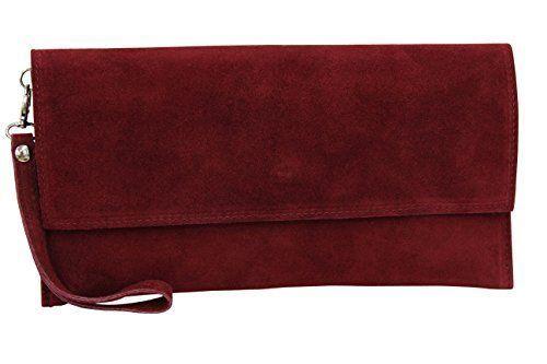 AMBRA Moda Damen Wildleder Clutch Handtasche velou…