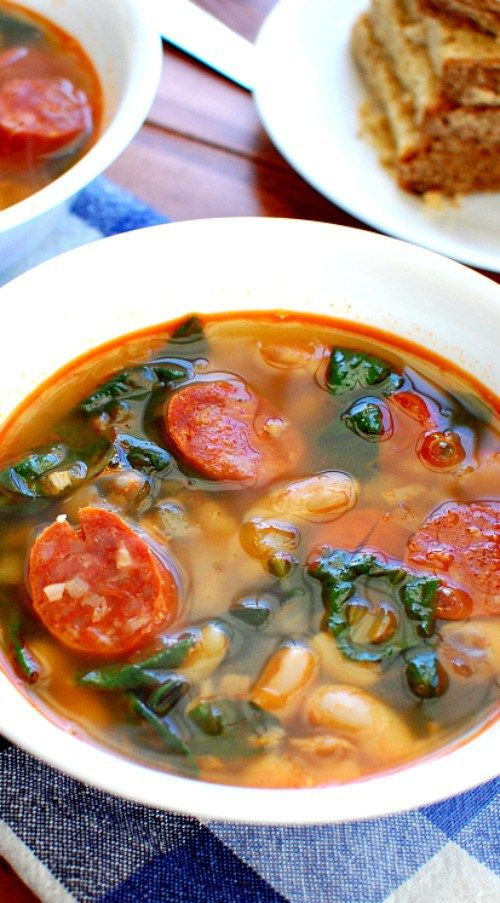 Chorizo spinach white bean soup. Full of wonderful flavors from the smokey pork chorizo.  This recipe is sure to please. | joeshealthymeals.com