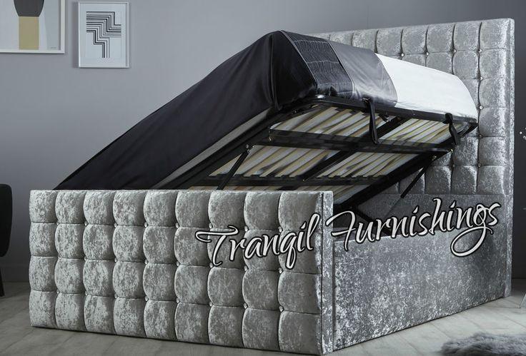 Capri Side lift storage Ottoman Bed Upholstered in Crushed Velvet- Made in UK. Bed Size Mattress Size Bed Frame Width Bed Frame Length. Colour Options: Silver Crushed Velvet, Cream Crushed Velvet, Truffle Crushed Velvet, Black Crushed Velvet. | eBay!