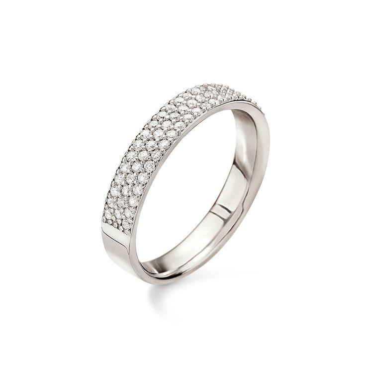 35€ Fashionably Silver Essentials Rhodium Plated Three Row Band Ring