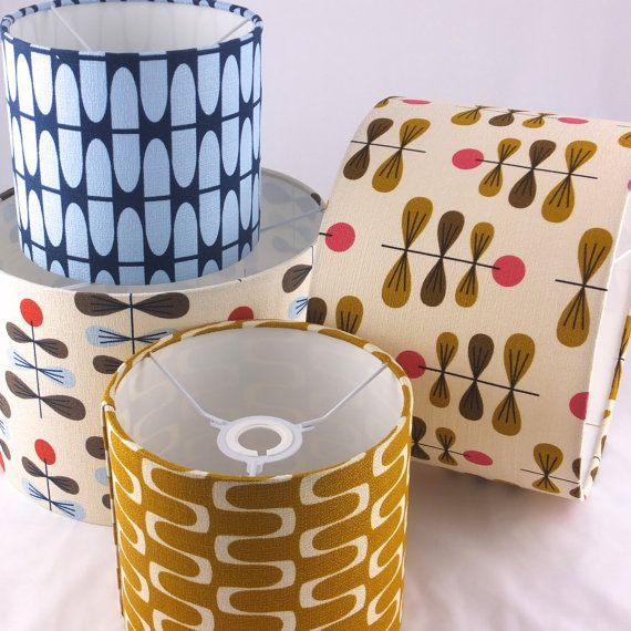 """Barkcloth """"In Theory"""" fabric by Jessica Jones for Cloud9 Fabrics. Lampshades available from Lazysusanmakes."""